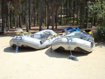 Two rafts at Boundary Creek ramp